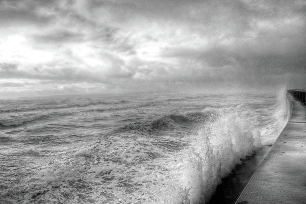 Photograph - Lynn Shore Drive Breakwater Kings Beach Lynn Ma Black And White by Toby McGuire