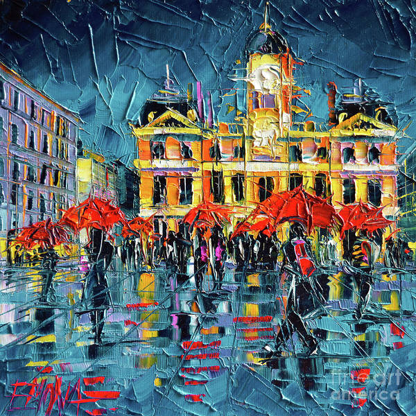 Wall Art - Painting - Lyon City Hall by Mona Edulesco
