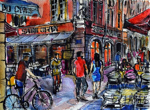 Urban Expressions Wall Art - Painting - Lyon Cityscape - Street Scene #03 - Rue Saint Jean by Mona Edulesco