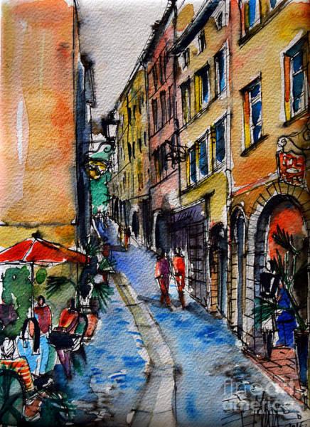 Wall Art - Painting - Lyon Cityscape - Street Scene #04 - Rue Du Boeuf by Mona Edulesco