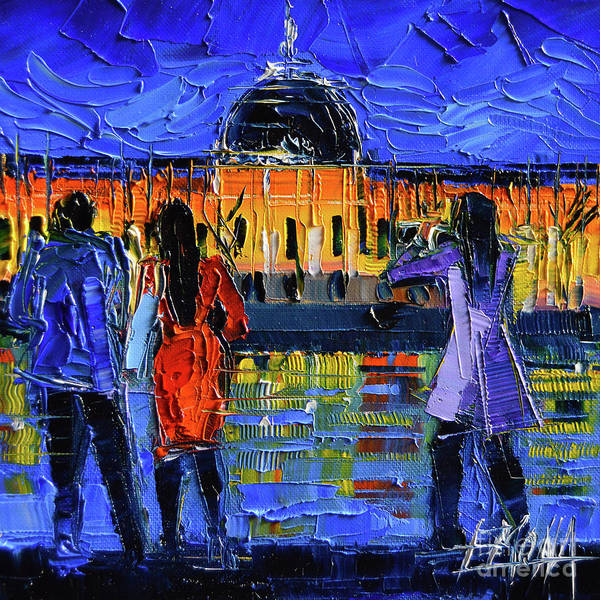 Wall Art - Painting - Lyon Sightseeing By Night Impressionist Modern Palette Knife Oil Painting by Mona Edulesco