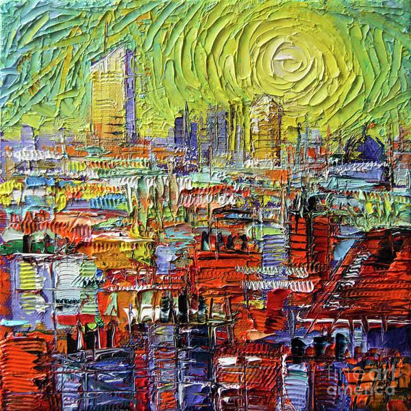 Wall Art - Painting - Lyon Sunrise Glow - Modern Impressionist Stylized Cityscape by Mona Edulesco