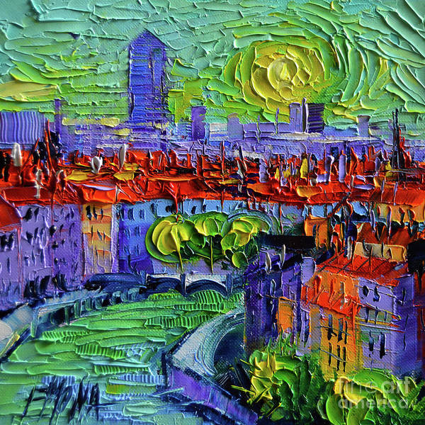 Vegetation Painting - Lyon View At Sunrise - Palette Knife Oil Painting By Mona Edulesco  by Mona Edulesco