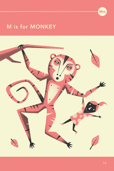 Illustrator Wall Art - Digital Art - M Is For Monkey by Jazzberry Blue