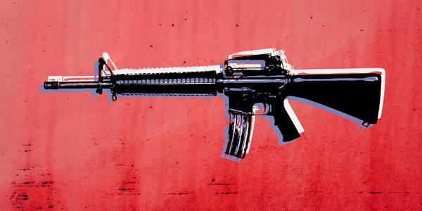 Arms Wall Art - Digital Art - M16 Assault Rifle On Red by Michael Tompsett