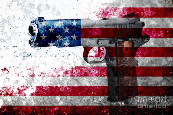 Digital Art - M1911 Colt 45 And American Flag On Distressed Metal Sheet by M L C