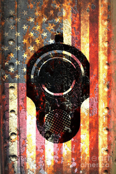 Digital Art - M1911 Colt 45 On Rusted American Flag by M L C