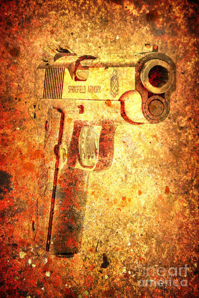 Digital Art - M1911 Muzzle On Rusted Background 3/4 View by M L C