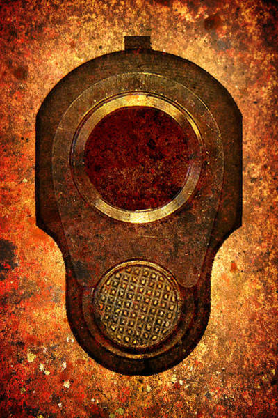 Digital Art - M1911 Muzzle On Rusted Background by M L C
