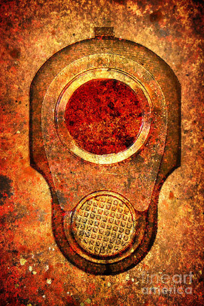 M1911 Muzzle On Rusted Background - With Red Filter Art Print