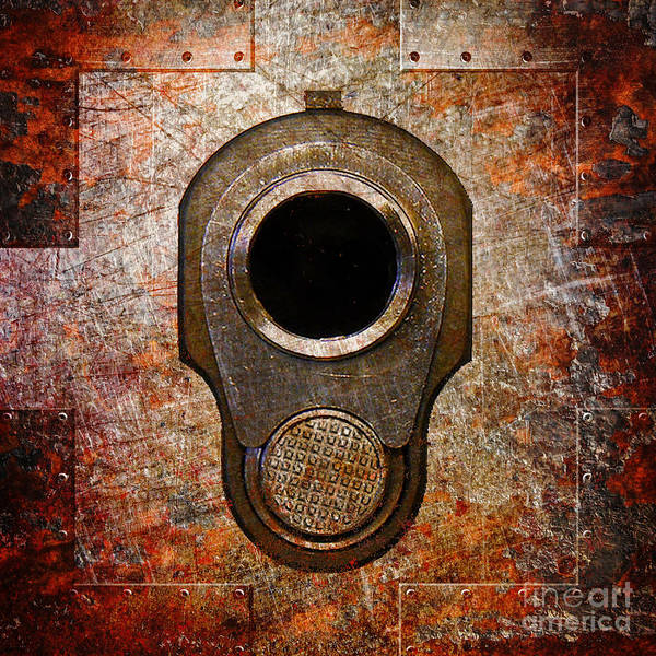 M1911 Muzzle On Rusted Riveted Metal Art Print