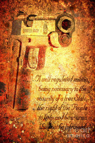 Digital Art - M1911 Pistol And Second Amendment On Rusted Overlay by M L C