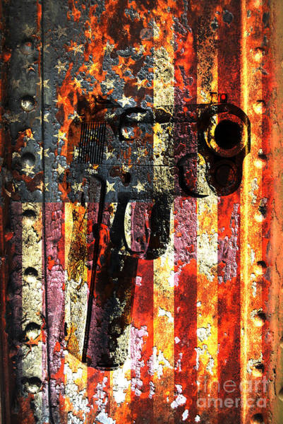 Digital Art - M1911 Silhouette On Rusted American Flag by M L C