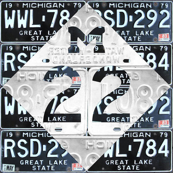 Wall Art - Mixed Media - M22 Michigan Highway Symbol Recycled Vintage Great Lakes State License Plate Logo Art by Design Turnpike
