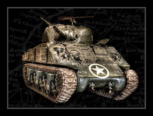 Wall Art - Photograph -  M4 Sherman Tank Bk Bg by Weston Westmoreland