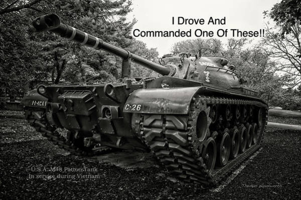 Wall Art - Photograph - M48 Patton Tank Front View Custom Text by Thomas Woolworth