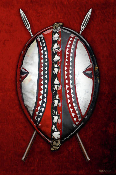 African Tribal Digital Art - Maasai War Shield With Spears On Red Velvet  by Serge Averbukh