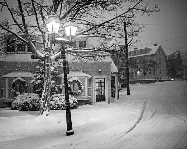 Photograph - Mablehead Market Square Snowstorm Old Town Evening Black And White by Toby McGuire