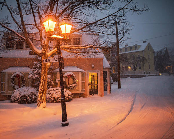 Photograph - Mablehead Market Square Snowstorm Old Town Evening by Toby McGuire