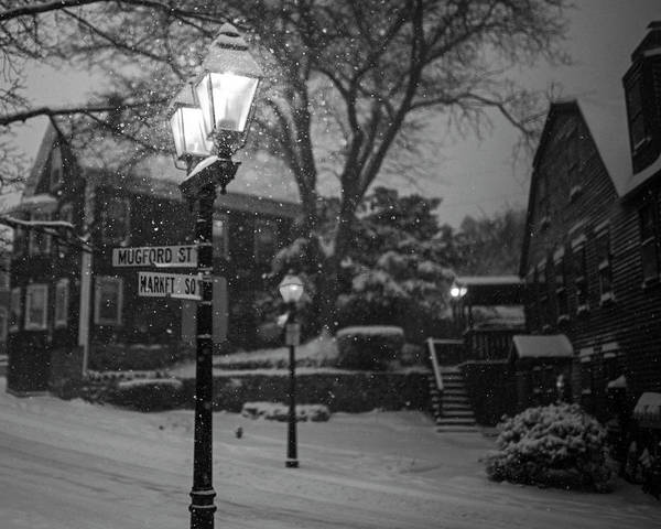 Photograph - Mablehead Market Square Snowstorm Old Town Lanterns Black And White by Toby McGuire
