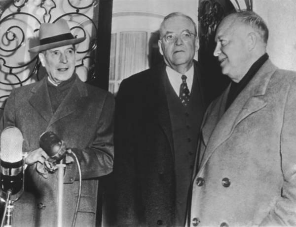 Commander Photograph - Macarthur, Dulles, Eisenhower by Underwood Archives