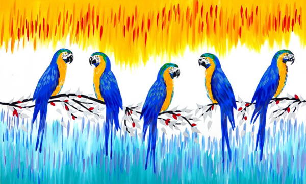 Cathy Painting - Macaws by Cathy Jacobs