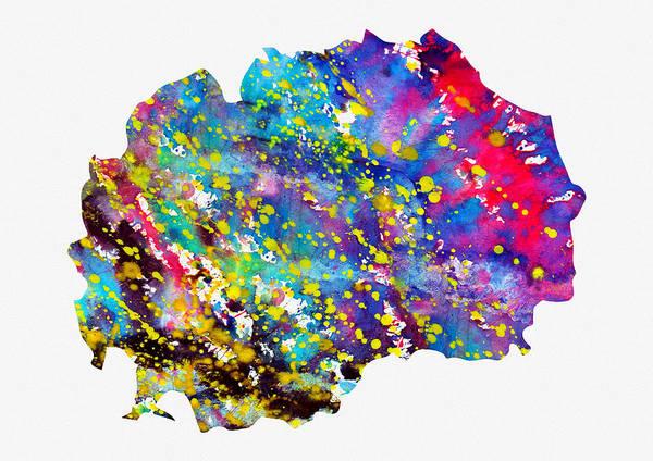 Macedonia Digital Art - Map Of Macedonia-colorful by Erzebet S
