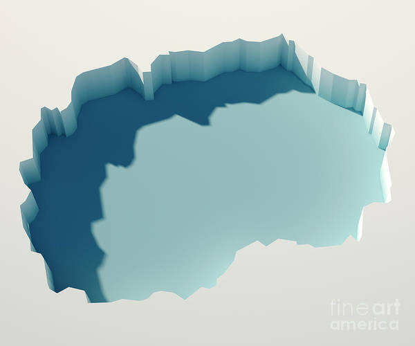 Macedonia Digital Art - Macedonia Simple Intrusion Map 3d Render by Frank Ramspott