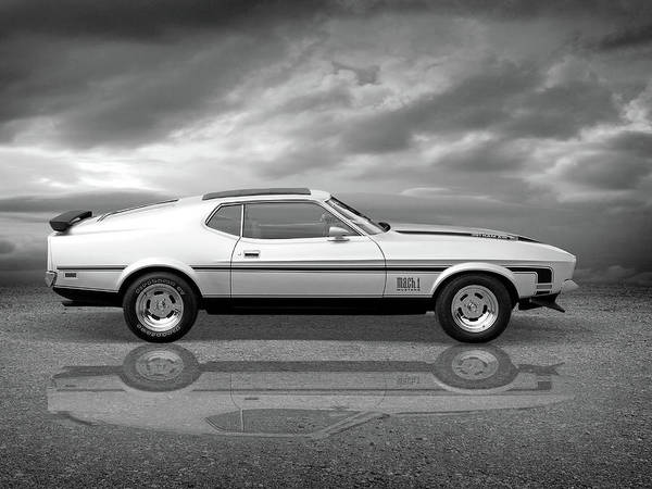 Photograph - Mach 1 Mustang Reflections In Black And White by Gill Billington