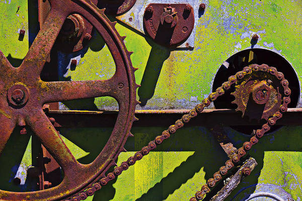 Rusty Chain Wall Art - Photograph - Machinery Gears  by Garry Gay