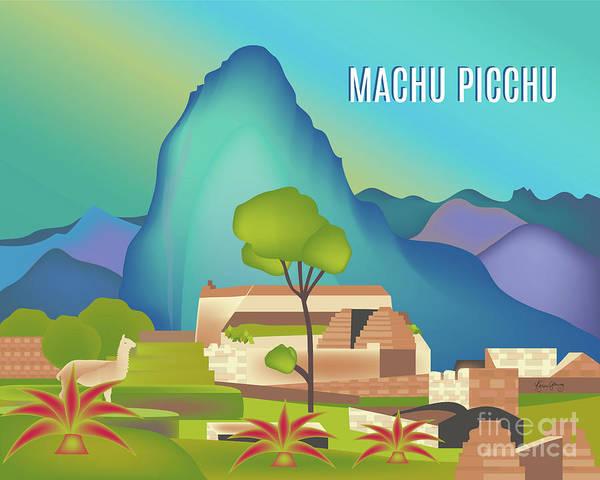 Wall Art - Digital Art - Machu Picchu Horizontal Scene by Karen Young
