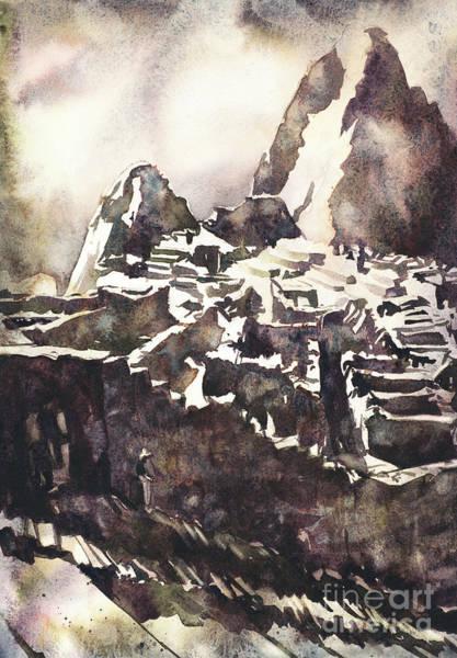 Wall Art - Painting - Machu Picchu Incan Ruins In The Sacred Valley, Peru.  Machu Picc by Ryan Fox