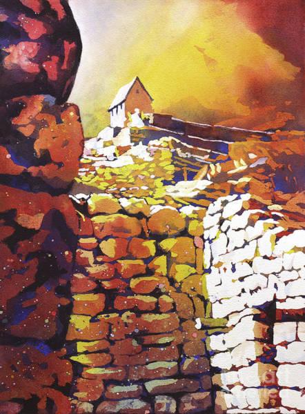 World Heritage Site Painting - Machu Picchu Sunrise by Ryan Fox