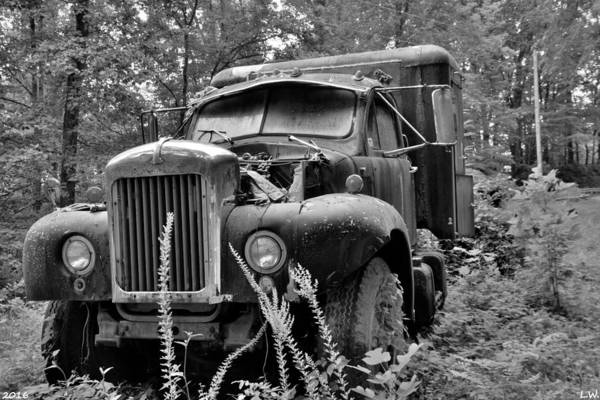 Photograph - Mack Truck Black And White by Lisa Wooten