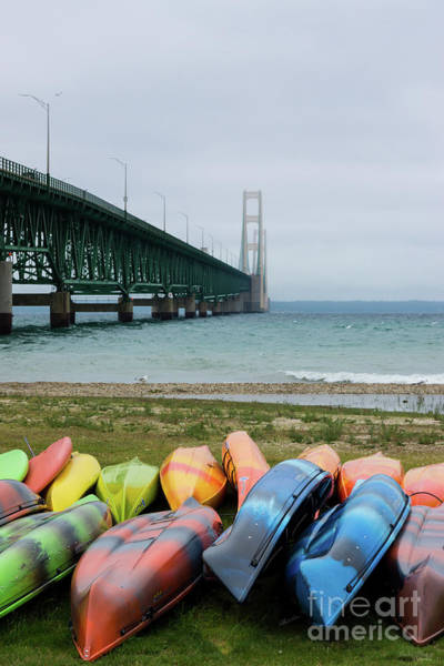 Michilimackinac Wall Art - Photograph - Mackinac Bridge And Canoes by Jennifer White