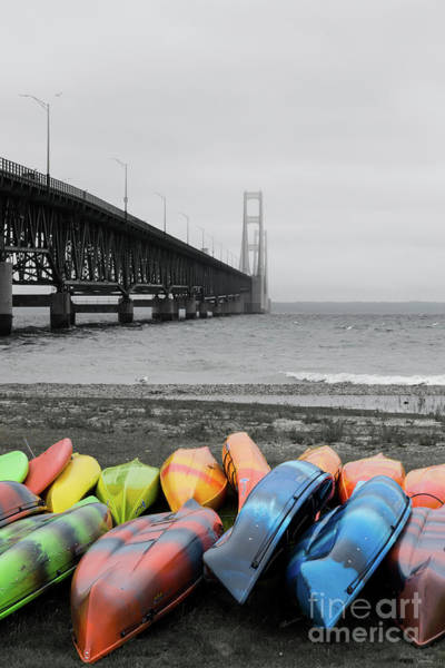 Michilimackinac Wall Art - Photograph - Mackinac Bridge And Canoes Select Color by Jennifer White