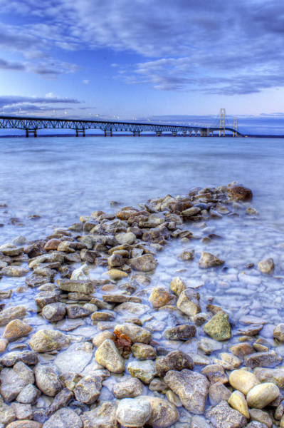 Up North Photograph - Mackinac Bridge From The Beach by Twenty Two North Photography