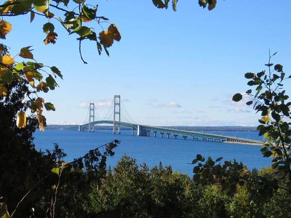 Photograph - Mackinac Bridge In Early Fall by Keith Stokes