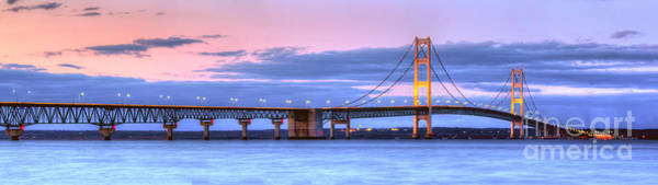 Mac Photograph - Mackinac Bridge In Evening by Twenty Two North Photography