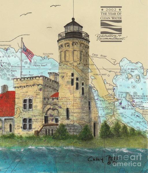 Wall Art - Painting - Mackinac Pt Lighthouse Mi Cathy Peek Nautical Chart Map Art by Cathy Peek