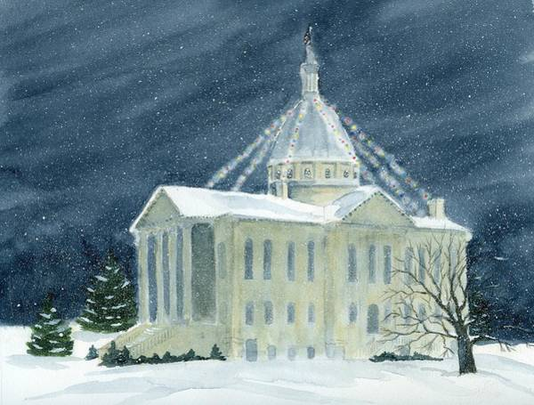 Courthouse Painting - Macoupin County Illinois Courthouse by Denise   Hoff