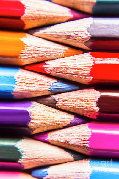 Pencil Drawing Photograph - Macro Coloured Pencil Crossover by Jorgo Photography - Wall Art Gallery