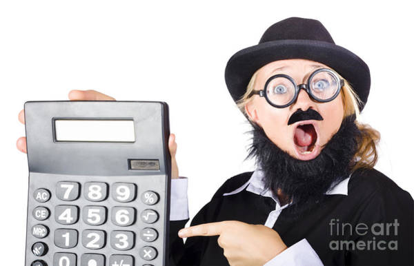 Mens Clothing Wall Art - Photograph - Mad Female Accountant With Calculator by Jorgo Photography - Wall Art Gallery
