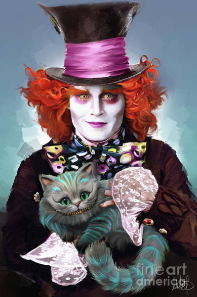 Wall Art - Painting - Mad Hatter And Cheshire Cat by Melanie D