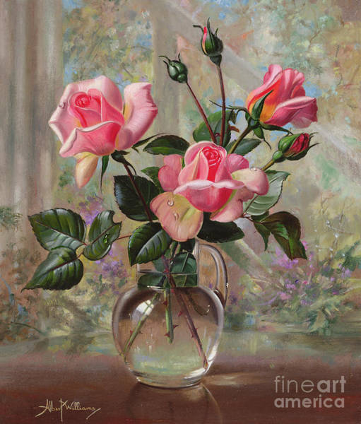 Pretty In Pink Wall Art - Painting - Madame Butterfly Roses In A Glass Vase by Albert Williams
