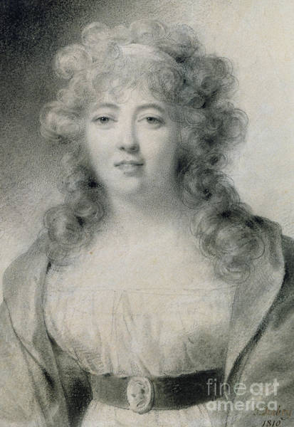 Attractive Drawing - Madame De Stael  by Jean-Baptiste Isabey