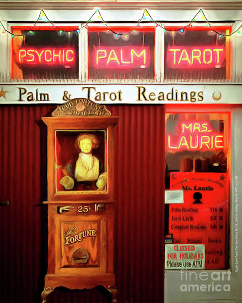 Palm Reading Wall Art - Photograph - Madame Lauries Psychic Palm Tarot Fortune Be Told Closed For Holiday Please Use Atm Circa 2016 V2 by Wingsdomain Art and Photography