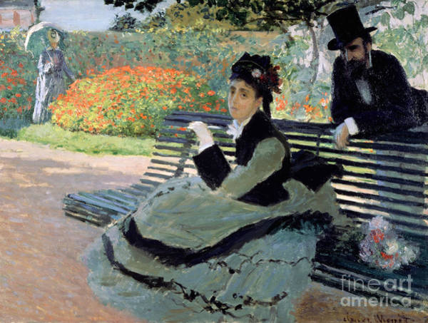 Annenberg Painting - Madame Monet On A Garden Bench by Claude Monet