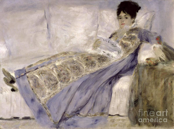 Newspaper Painting - Madame Monet On A Sofa by Pierre Auguste Renoir