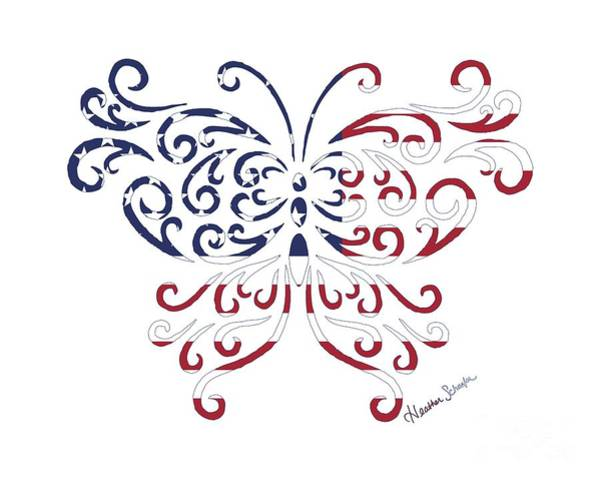 Digital Art - Made In The Usa Tribal Butterfly by Heather Schaefer